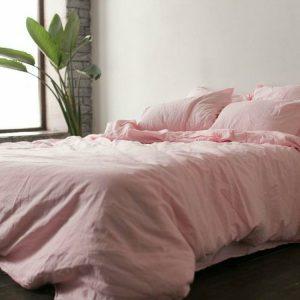 """Комплект льняного постельного белья """"Розовый, №1402"""""""